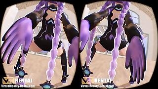 Hyperdimension Neptunia - Purple Constituent on touching 3D SBS