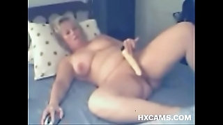 full-grown CHUBBY pleases will not hear of slit fro sex-toy on webcam