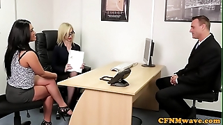 Spex cfnm femdom facialized tick cocksucking