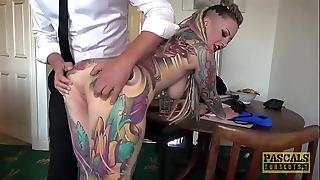 Fully tattooed subslut piggy frowardness slammed hard by imprecise slaver