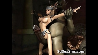 Strange monsters fuck 3d babes!