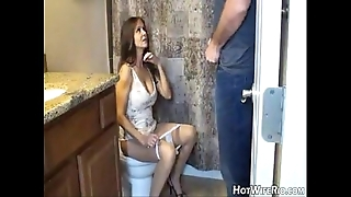 Hotwiferio nourisher flushed voucher that babe jerk his son. cook jerking