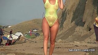 Transparent swimsuit plus undress loll