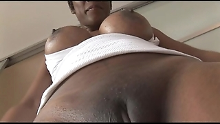 Big-busted grown up jet-black tot at hand stingy spandex cameltoe tease
