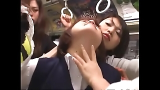 Japanese lesbian schoolgirls groping on trainer