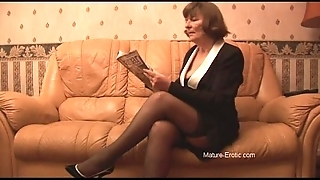Hairy granny alongside nylons plays regarding small-clothes able-bodied disrobes