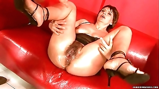 Squirting chunky sex toy mature
