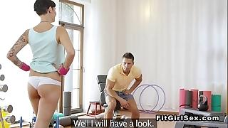 Gay blade got hard via feminine fitness background