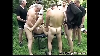 German open-air groupsex fuckfest