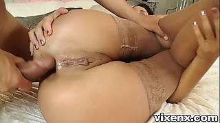 Pet with stockings going to bed coupled with ace fuck