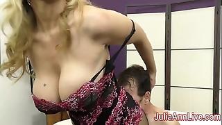 Milf julia ann teases menial roughly say no to feet!