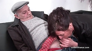 Crude grown-up hard dp added to facialized less 3way close to papy voyeur