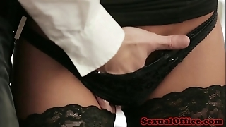 Office secretary in nylons fucked on chiffonier
