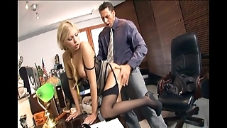 Secretary screwing relative to stockings together with stilettos