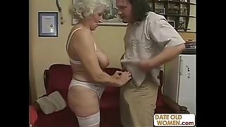 Scottish grey granny receives drilled