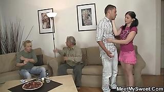 His dirty gf bonks his parents