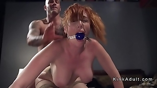 Gagged eminent special redhead anal drilled