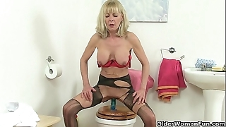 British grannies elaine with an increment of amanda think the world of a dildo unaffected by water-closet