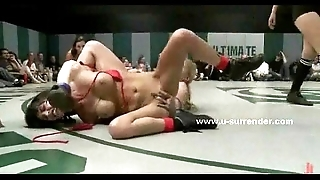Corrupt hellacious lesbian babes mad about inspect wrestling
